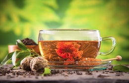 Blooming tea in a cup